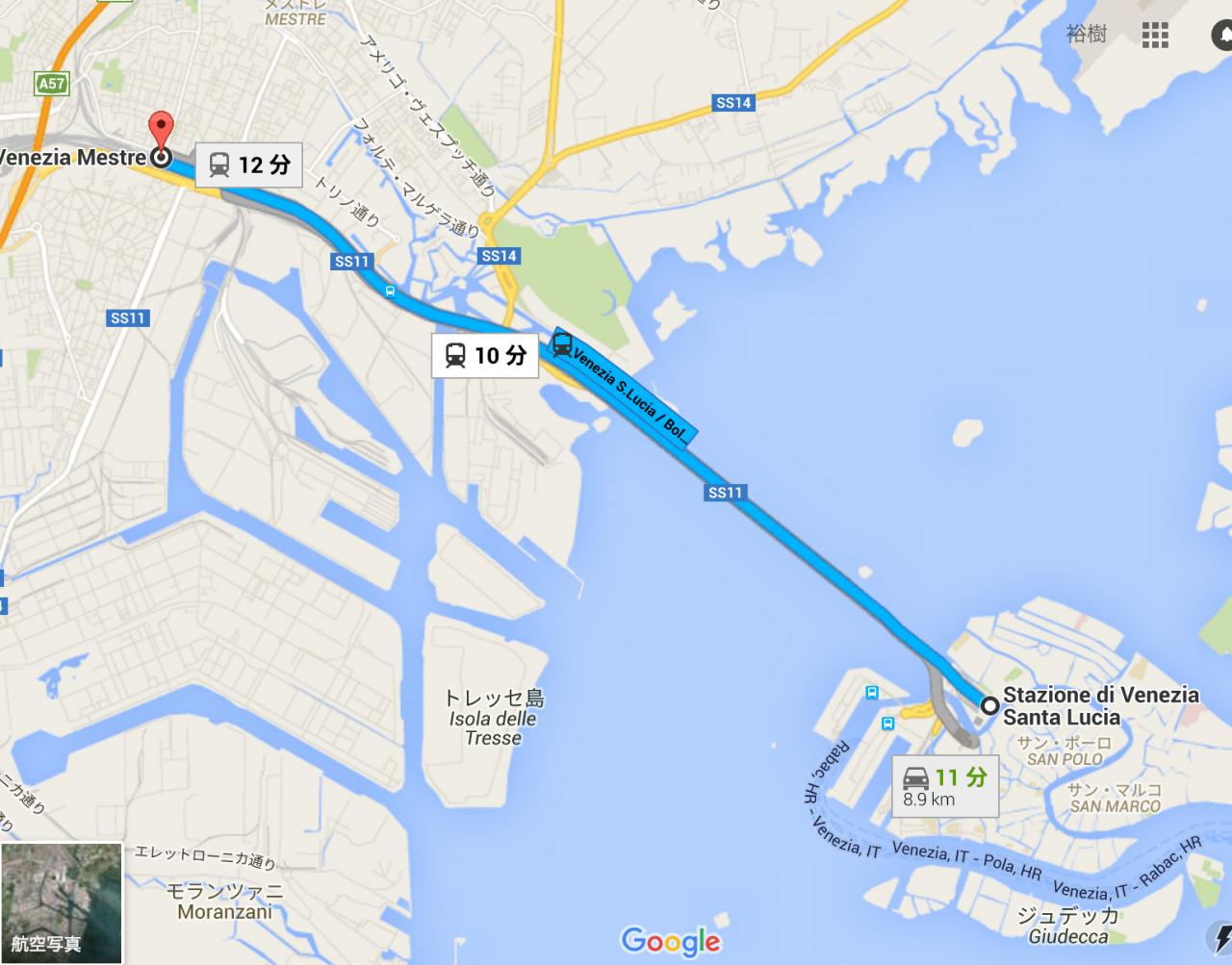 ベネチア本島のサンタルチア駅からは1駅。列車に乗ればすぐに水の都です。