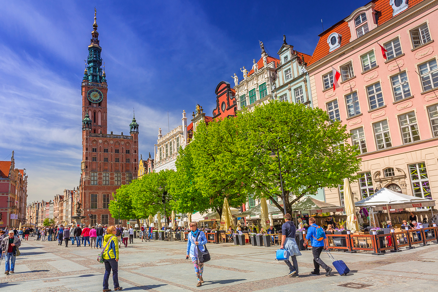 GDANSK, POLAND - MAY 11, 2015: The Long Lane street in old town