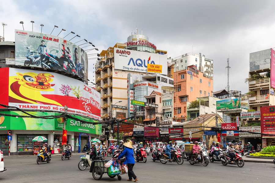 HO CHI MINH, VIETNAM, FEBRUARY 24, 2015 : View on the traffic mo