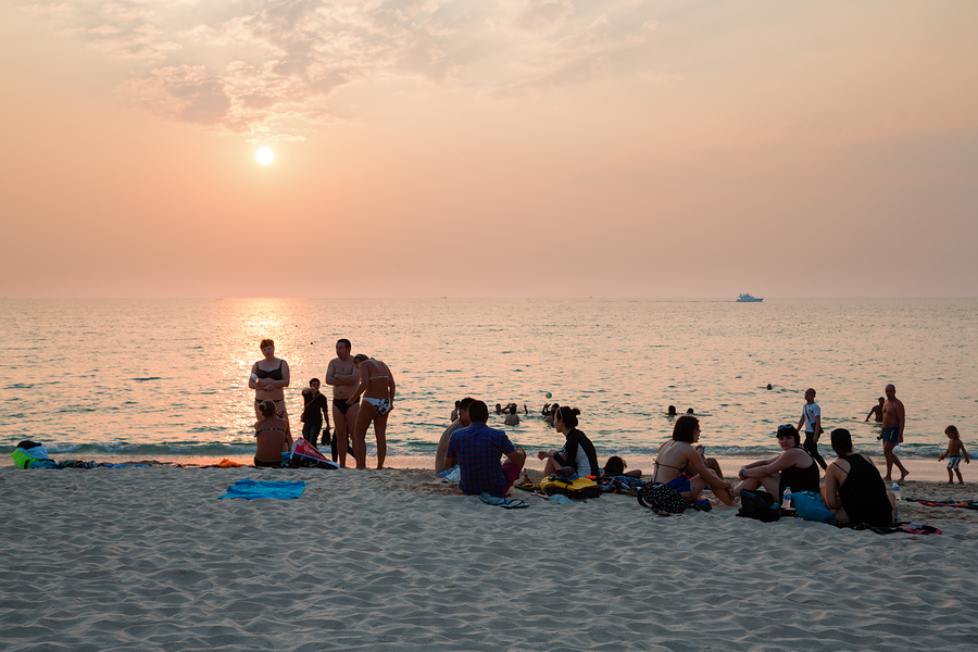 KATA BEACH, THAILAND - CIRCA FEBRUARY, 2015: People relax on the