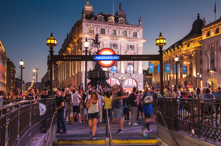 LONDON, UK - AUGUST 22, 2014: Piccadilly Circus in night. Famous