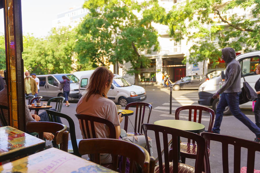 PARIS, FRANCE - AUGUST 10, 2015: view from cafe on streets of Pa