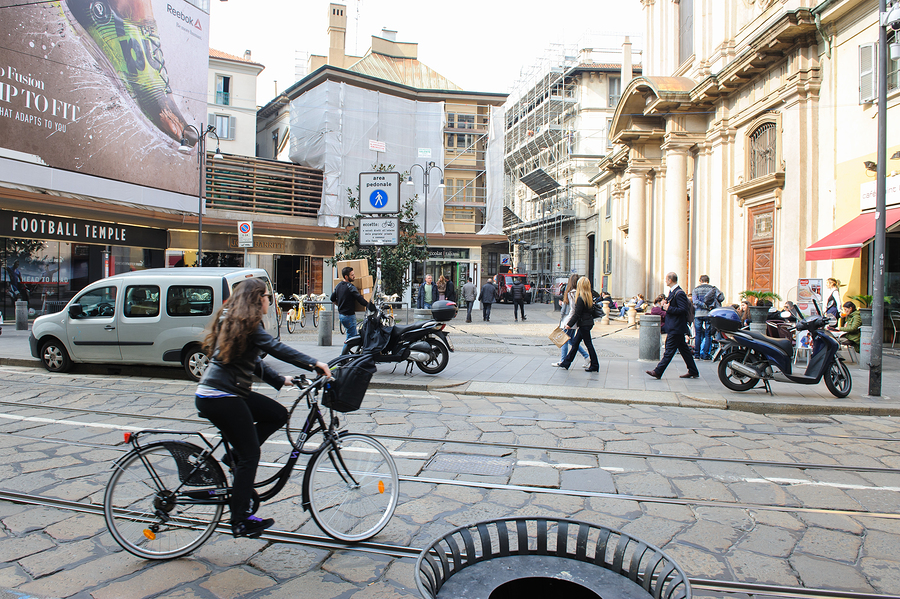 MILAN ITALY - MARCH 18 2015: On the streets of the city.