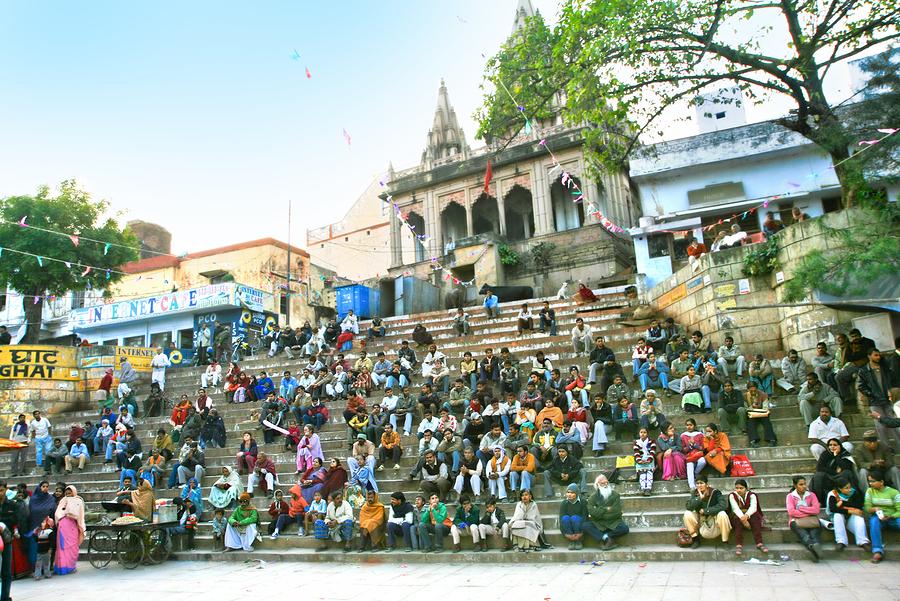 VARANASI, INDIA - 09 FEBRUARY: Gathered people in Assi Ghat duri