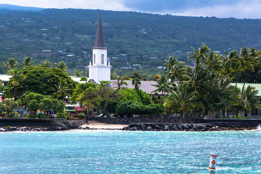 View of Kona from the beach, Hawaii