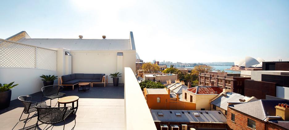 屋上テラスからの眺め。オペラハウスが見えます!