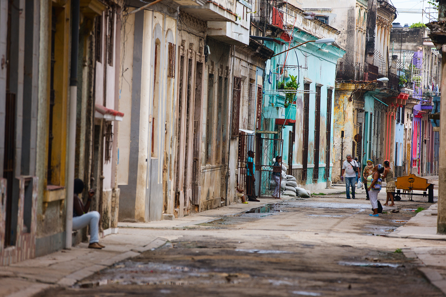 HAVANA, CUBA - JULY 17, 2013: Authentic view of a street of Old