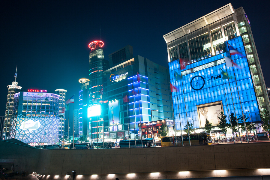 Seoul Republic of Korea - 15 August: Night view of Dongdaemun shopping area on August 15 2014 in Seoul, Korea.