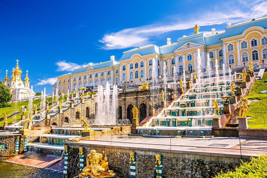 PETERHOF, RUSSIA - JUNE 22, 2012: Grand Cascade in Peterhof, St