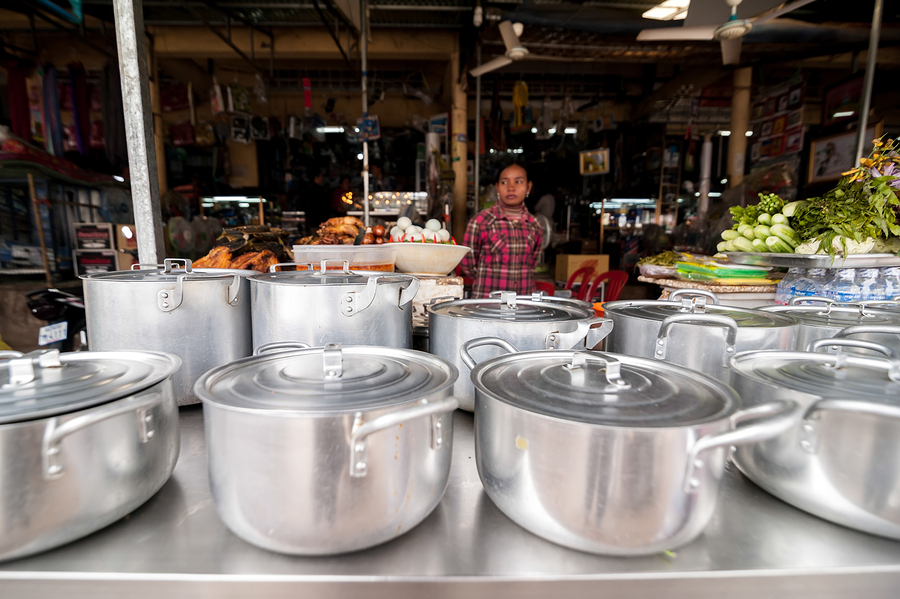 People at traditional asian food marketplace, Siem Reap Cambodia
