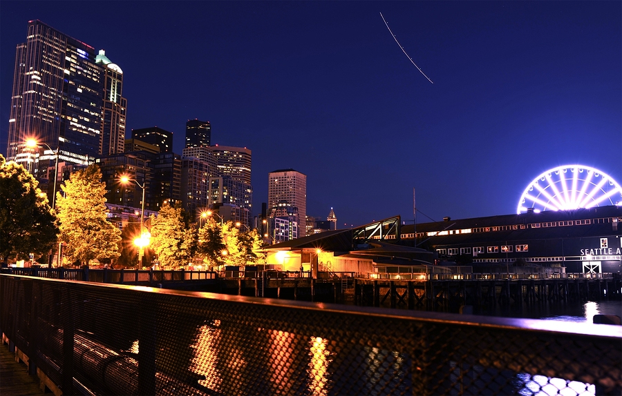 Seattle Waterfront - Alaskan Way. Seattle Washington at NIght - Urban Theme. Cities Photo Collection.