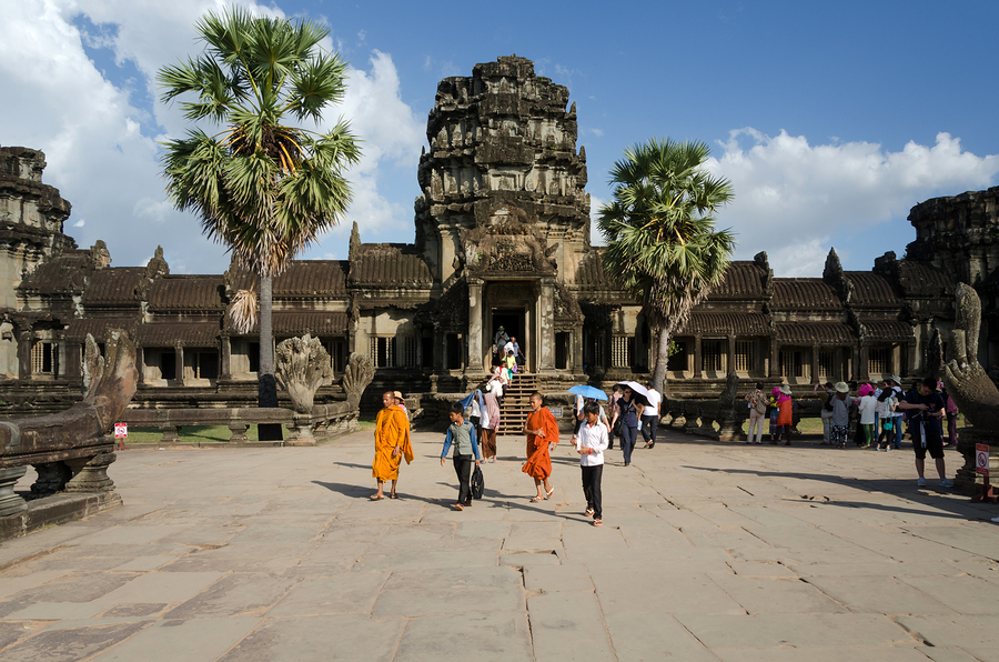 Siem Reap Cambodia - December 2 2015: People visit Angkor Wat in