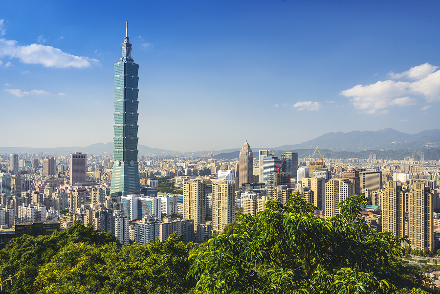 TAIPEI, TAIWAN - CIRCA 2013: Downtown skyline of Taipei with Taipei 101, the tallest building in the world from 2004 until 2010.