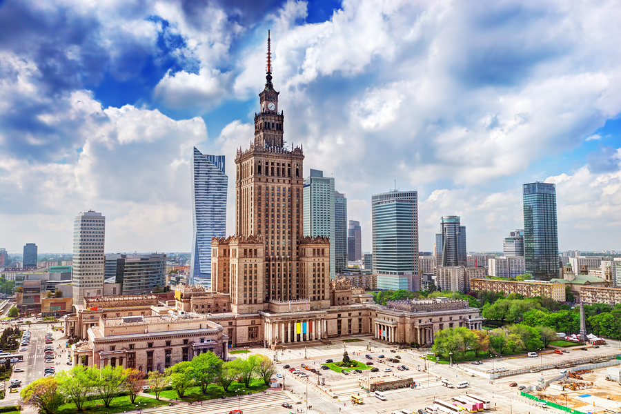 Warsaw, Poland. Aerial view Palace of Culture and Science and do
