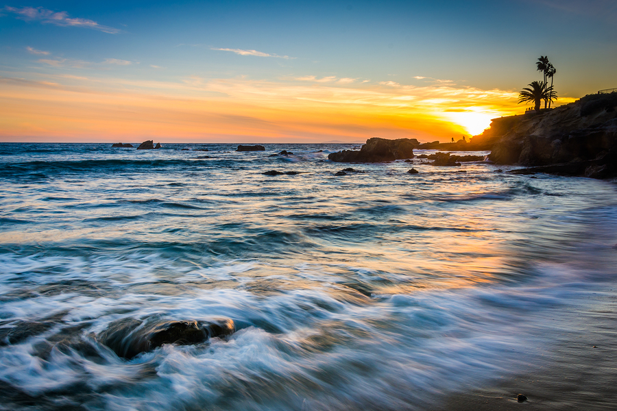 Waves In The Pacific Ocean At Sunset, Seen From Heisler Park, In