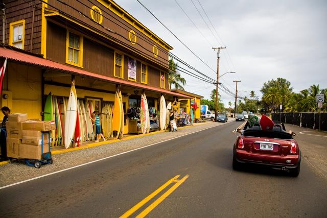 Driving through Haleiwa Town