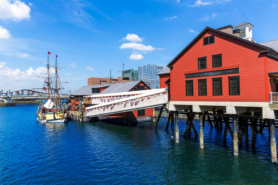 Boston Tea Party in Massachusetts USA
