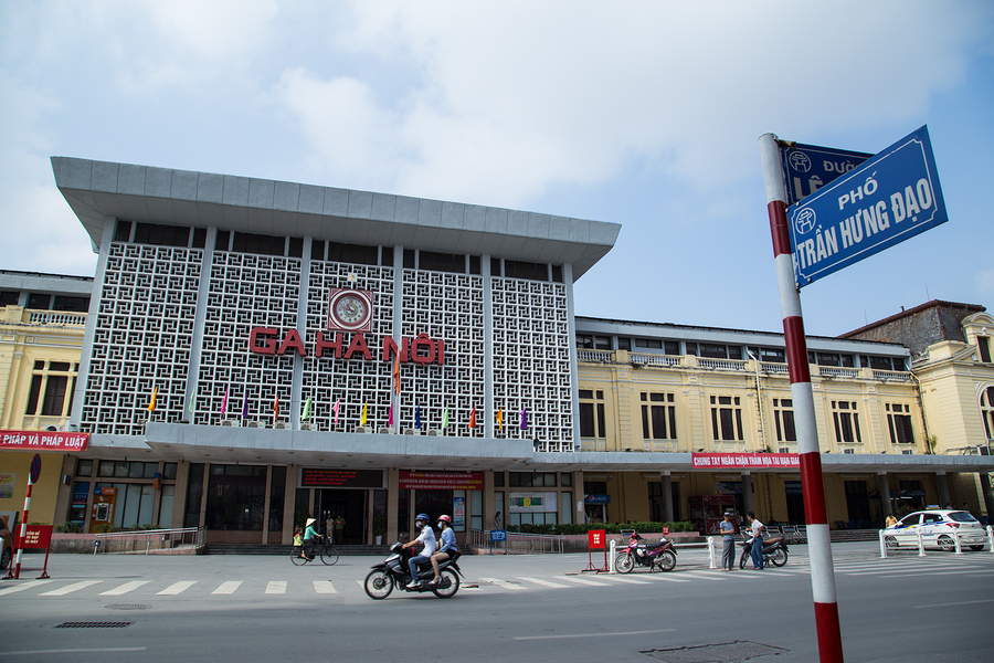 Front view of the old Hanoi Railway Station in Hanoi capital