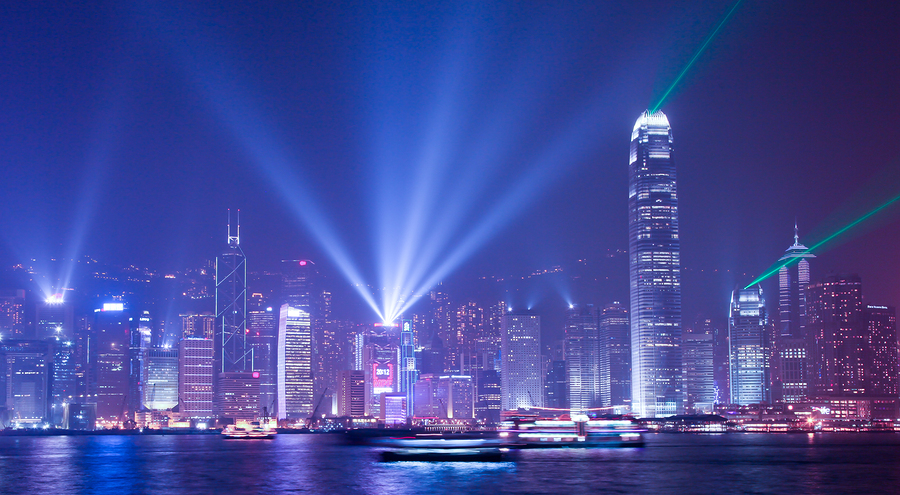 HONG KONG - JANUARY 9: Hong Kong's famous laser light show in Vi