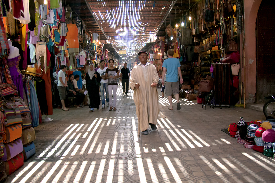Marrakech, Morocco Sept 15Th: A Man Begging In The Souk On Septe