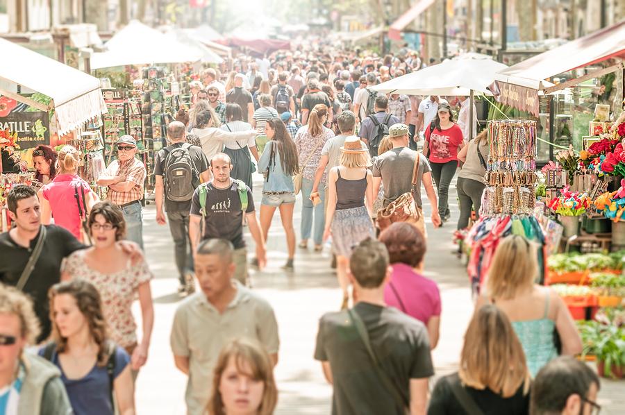 People Walking In La Rambla Street, Spain, Europe.