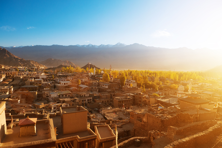 Sunrise view of Leh city, the town is located in the Indian Hima