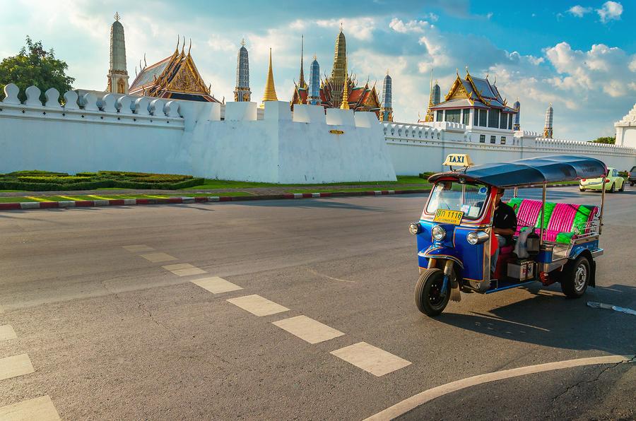 Tuk tuk and Bangkok's Grand Palace, Thailand
