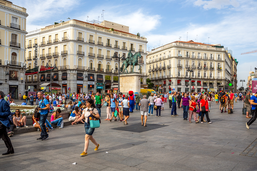 MADRID, SPAIN - JUN 6: Puerta del Sol, Madrid, one of the famous
