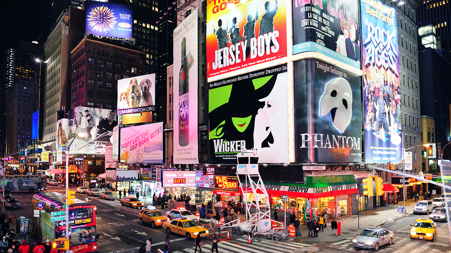 NEW YORK CITY, NY - JAN 30: Times Square is featured with Broadw