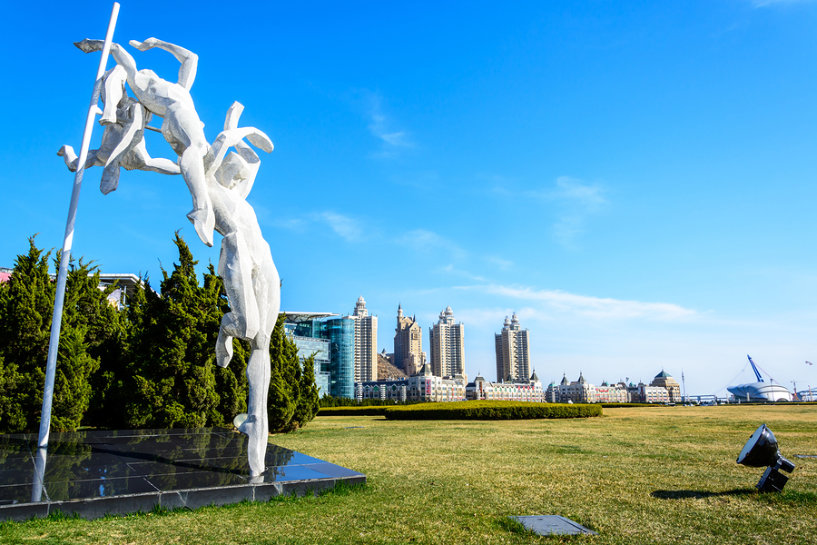 Dalian, China - April 7, 2015 : Sculpture At Xinghai Square.the