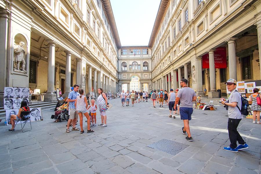 Florence, Italy, June, 25, 2016: Uffizi Gallery (Piazzale degli