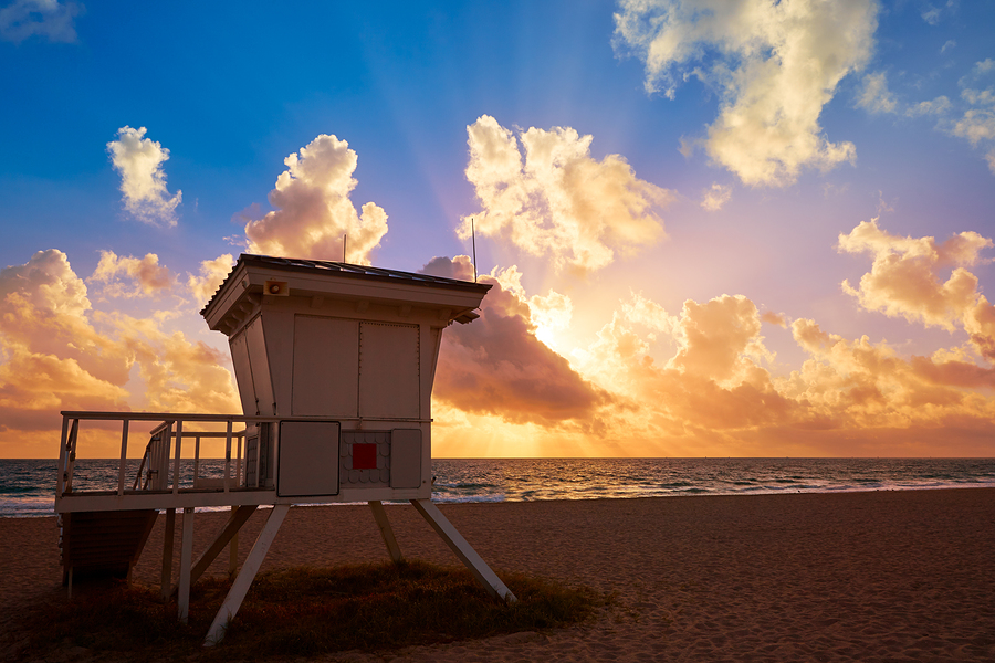 Fort Lauderdale beach morning sunrise in Florida USA baywatch to