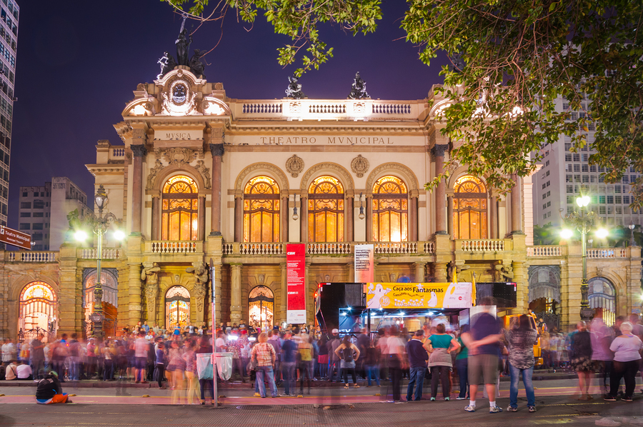 Sao Paulo, Brazil - January 25: Municipal Theater Of Sao Paulo,