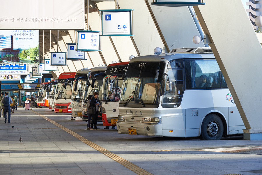 Seoul Korea - September 18 2015: View of Seoul Express Bus Terminal in a morning. Seoul Express Bus Terminal is the main bus terminal located in Seocho-gu and it operates routes to the cities near the Gyeongbu line.