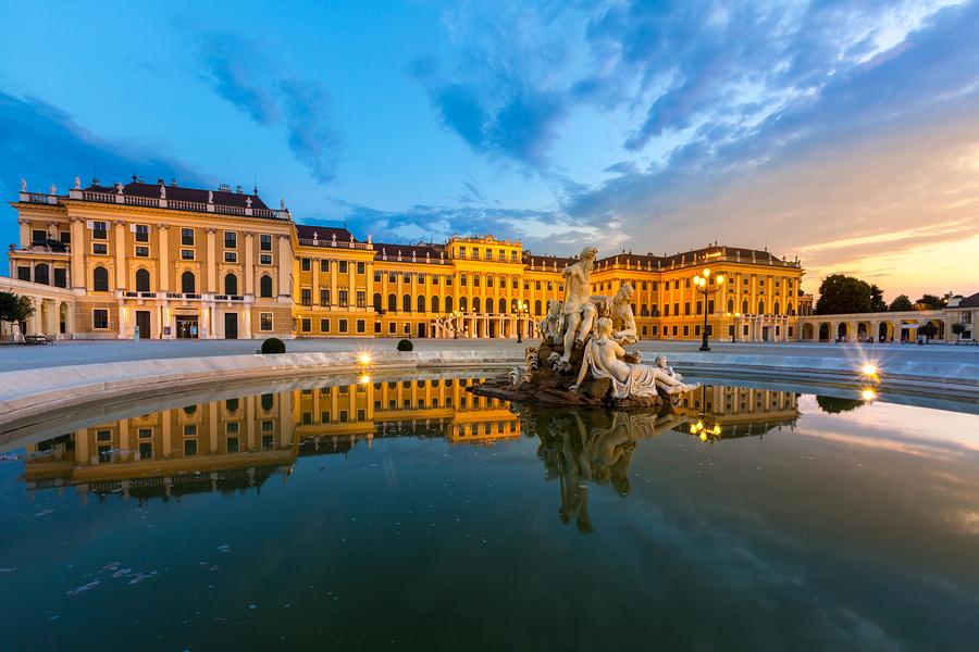 VIENNA - JULY 23 2015: Schonbrunn Palace, Vienna, Austria illumi