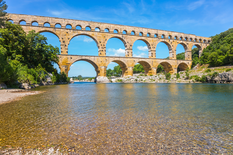 Aqueduct Pont du Gard - the highest in Europe. The bridge was bu