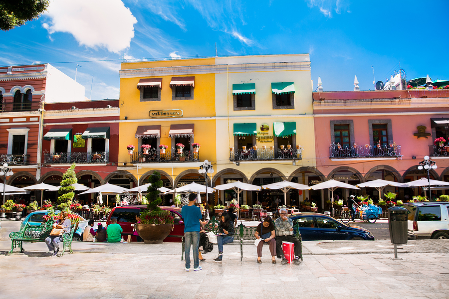 PUEBLE, MEXICO-DEC 5, 2015: Zocalo square in Pueble, Mexixo on