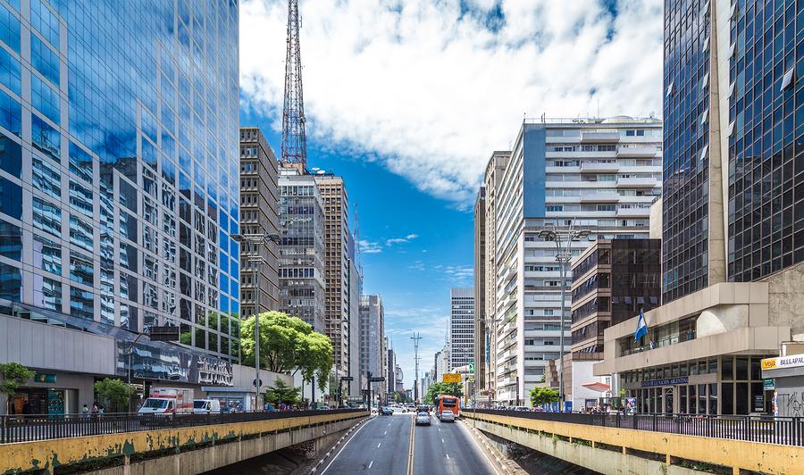 SAO PAULO, BRAZIL - CIRCA JAN 2015: Paulista Avenue in Sao Paulo