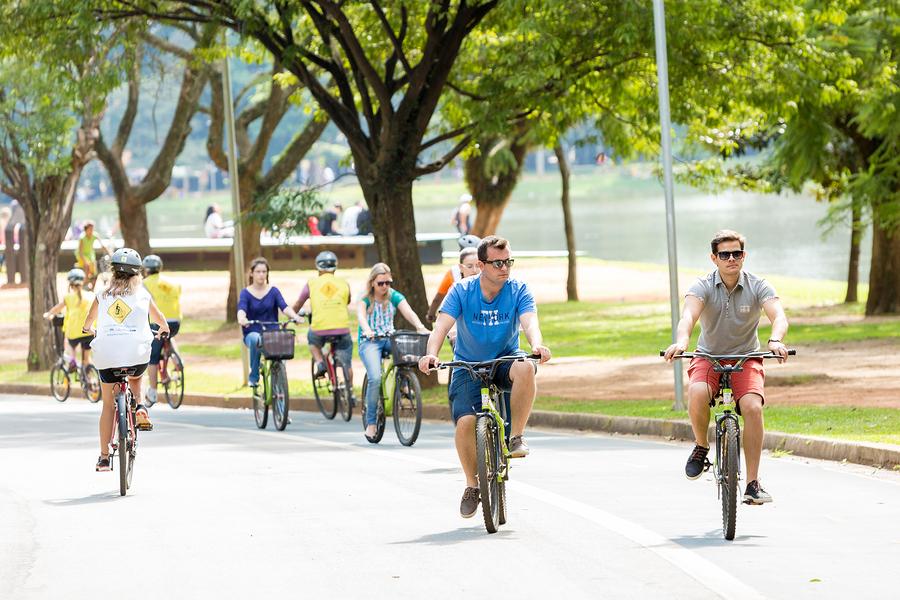 SAO PAULO, BRAZIL - CIRCA MARCH 2015: People riding bike in Ibir