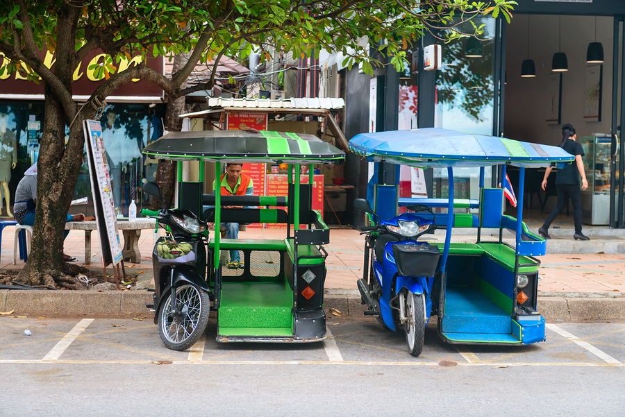 Tuk Tuk Taxis Parked Under A Tree